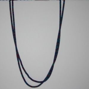Vintage Jewelry - Beautiful vintage long necklace red green blue